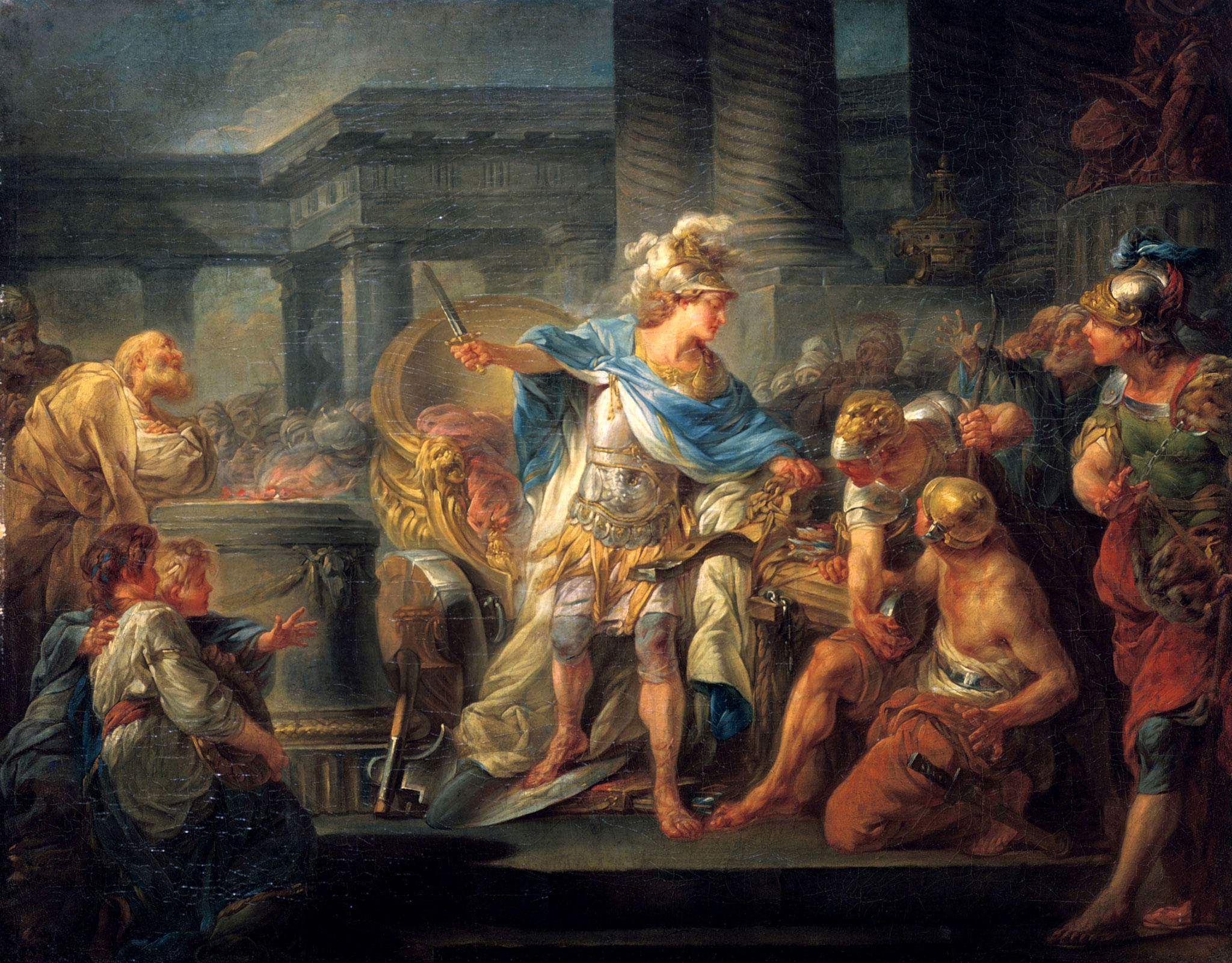 <em>Alexander cuts the Gordian Knot</em> &middot; Jean-Simon Berthélemy (1743-1811)